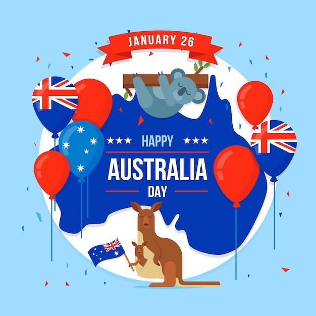 Flacher artaustralien-tag mit koalabärnillustration Kostenlosen Vektoren