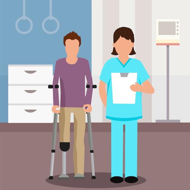 Flacher arzt und patient im rehabilitationszentrum Premium Vektoren
