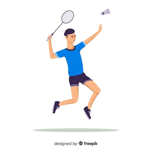 Flacher badmintonspieler mit schläger Kostenlosen Vektoren