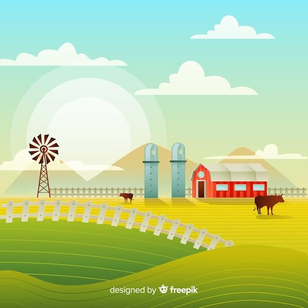 Flacher bauernhoflandschaftshintergrund Kostenlosen Vektoren