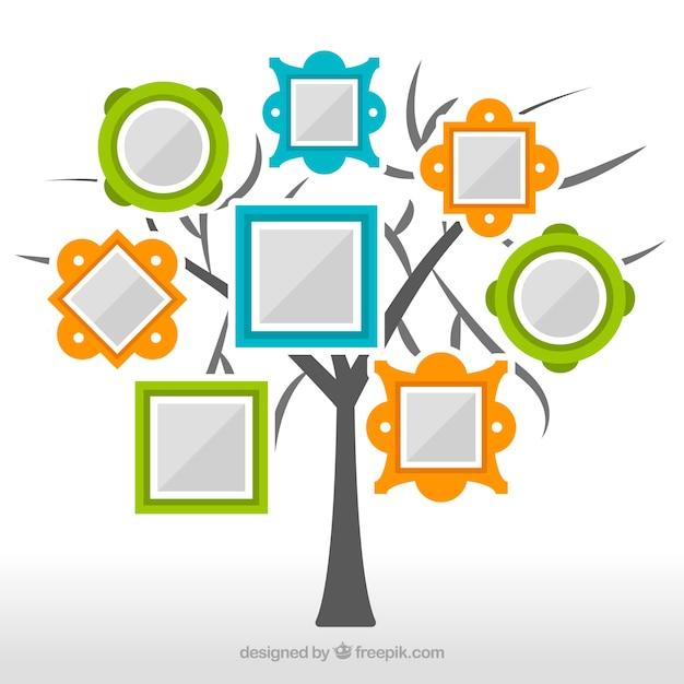 Flacher Baum Mit Rahmen An Der Wand Download Der Kostenlosen Vektor