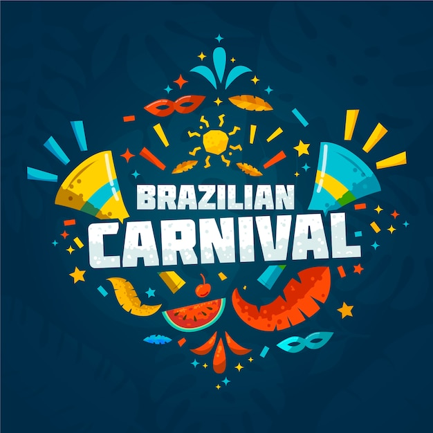 Flacher brasilianischer karneval mit scheiben der wassermelone und der konfettis Kostenlosen Vektoren