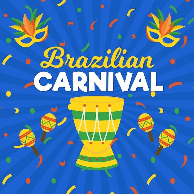 Flacher brasilianischer karneval Kostenlosen Vektoren