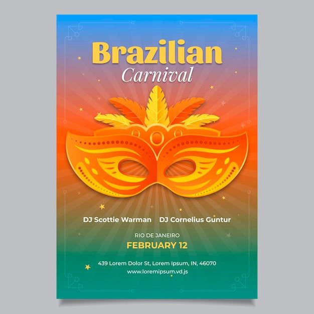 Flacher brasilianischer karnevalsflieger Kostenlosen Vektoren