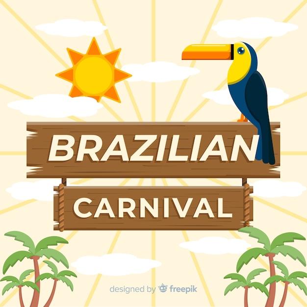Flacher brasilianischer karnevalshintergrund Kostenlosen Vektoren