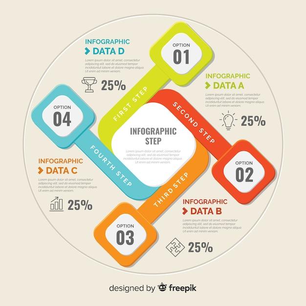 Flacher bunter infographischer hintergrund Kostenlosen Vektoren