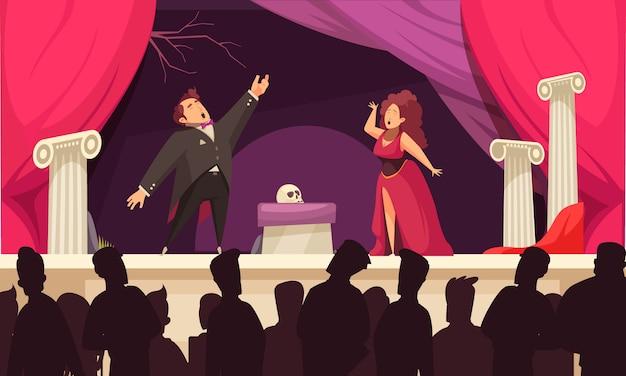 Flacher cartoon der operntheaterszene mit 2 sängerarienaufführung und publikumsschattenbildern Kostenlosen Vektoren