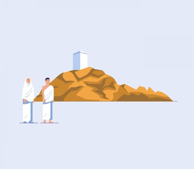 Flacher charakter von hadsch-pilgern am berg arafat Premium Vektoren