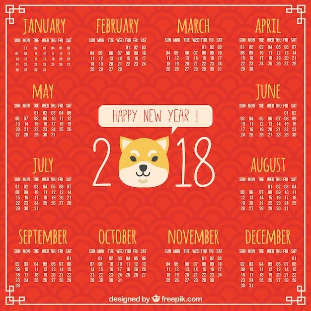 Flacher chinesischer Kalender des neuen Jahres | Download der ...
