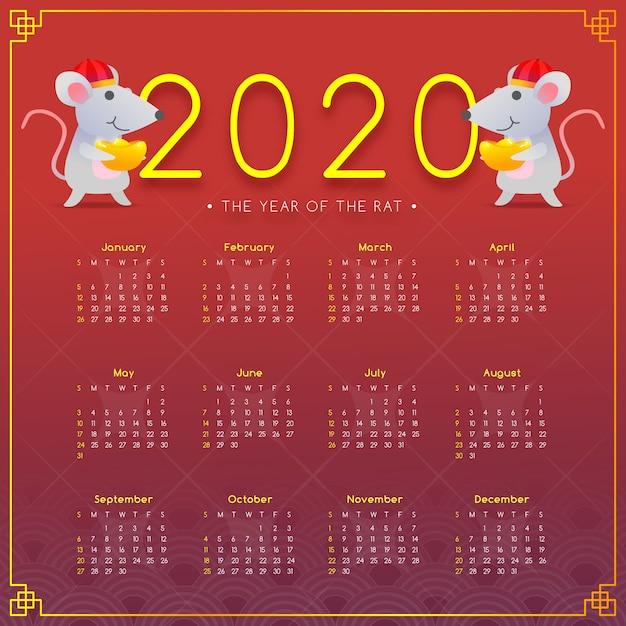 Flacher chinesischer kalender und mäuse des neuen jahres Kostenlosen Vektoren