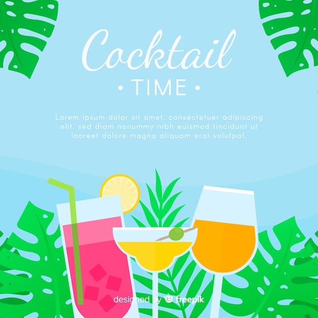 Flacher cocktailhintergrund Kostenlosen Vektoren