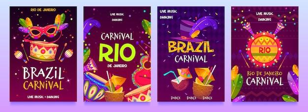 Flacher design brasilianischer karnevalsflieger Kostenlosen Vektoren