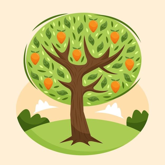 Flacher design-mangobaum auf grünem feld Kostenlosen Vektoren
