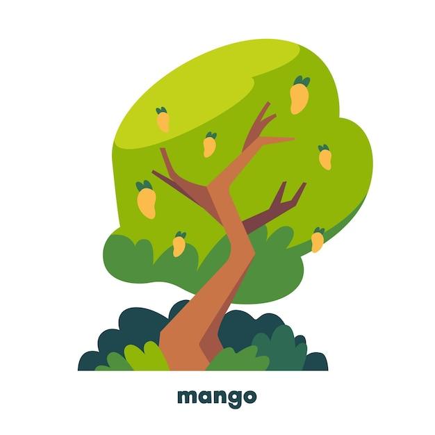 Flacher design-mangobaum mit früchten Kostenlosen Vektoren