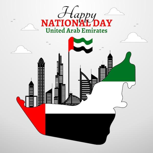 Flacher designhintergrund des vereinigten arabischen emirats nationalfeiertag Kostenlosen Vektoren