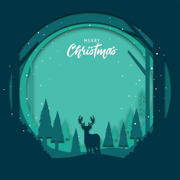 Flacher designhintergrund für weihnachten mit papierschnittkunst Premium Vektoren