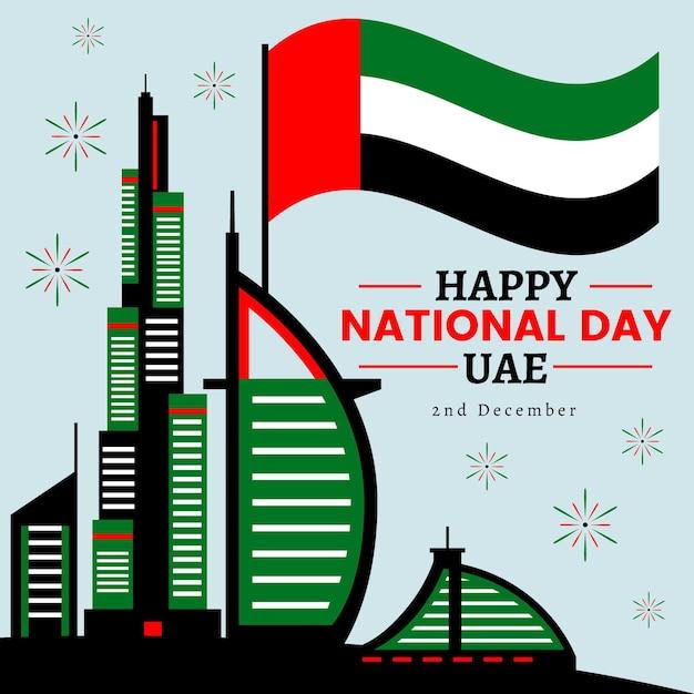 Flacher designhintergrund vereinigte arabische emirate nationalfeiertag Kostenlosen Vektoren