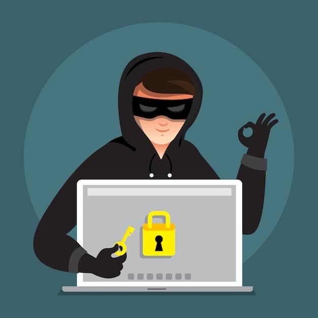 Flacher designkonzept-hacker-aktivitäts-cyberdieb auf internet-gerät. veranschaulichen. Premium Vektoren