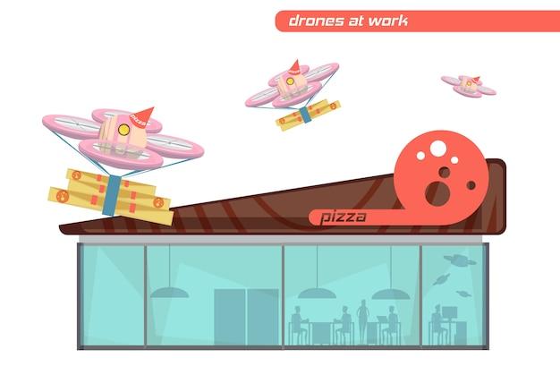 Flacher designsatz fliegende drohnen, die pizza auf weißem hintergrund liefern Kostenlosen Vektoren