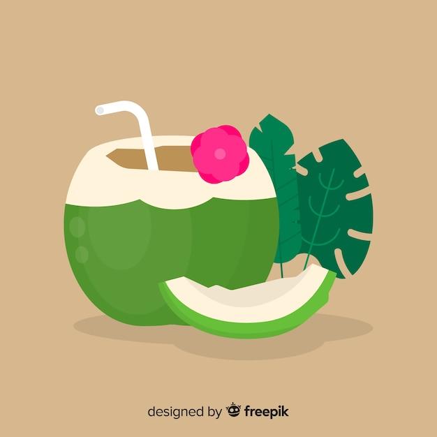 Flacher einfacher grüner kokosnusshintergrund Kostenlosen Vektoren