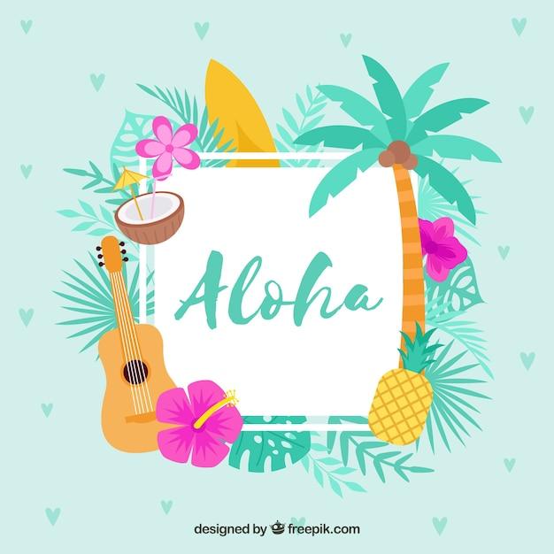 Flacher entwurf blauer aloha hintergrund Kostenlosen Vektoren