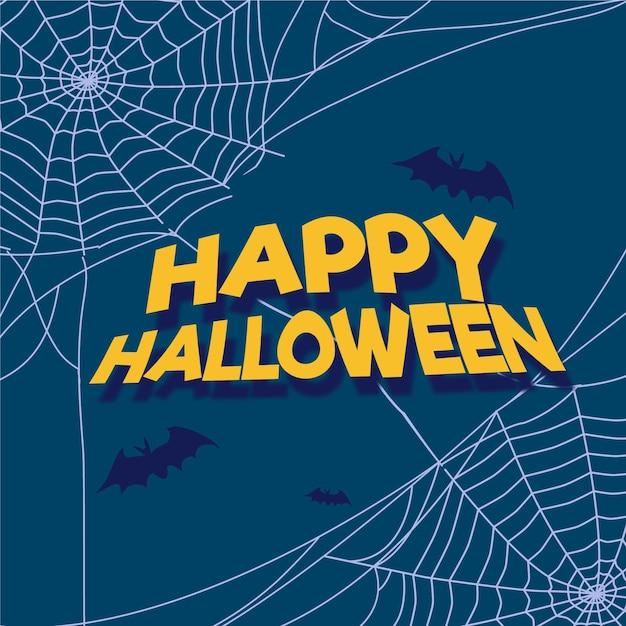 Flacher entwurf halloween spinnennetz hintergrund Kostenlosen Vektoren
