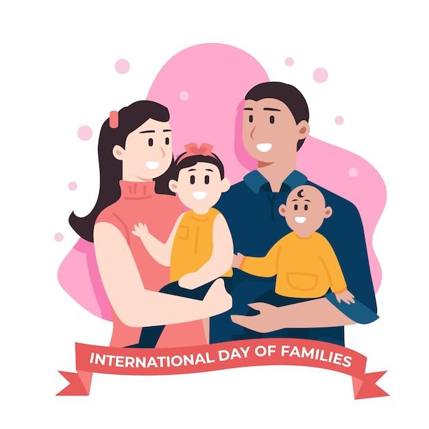 Flacher entwurf internationaler tag der familienillustration Kostenlosen Vektoren