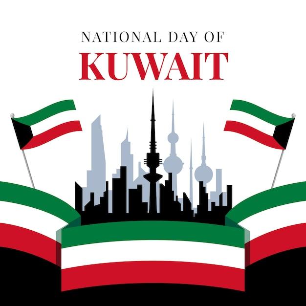 Flacher entwurf kuwait nationalfeiertag und stadt Kostenlosen Vektoren
