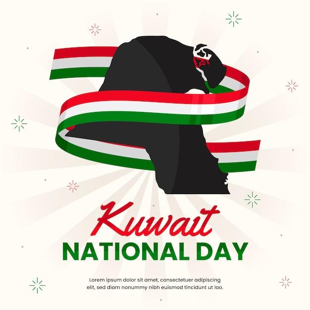 Flacher entwurf kuwait nationalfeiertag Premium Vektoren