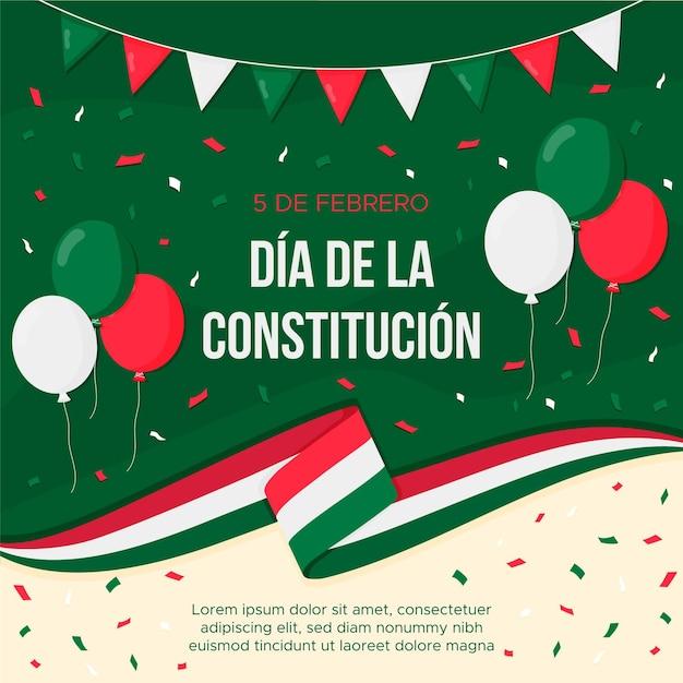 Flacher entwurf mexiko verfassungstag hintergrund Kostenlosen Vektoren