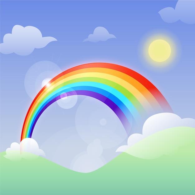 Flacher entwurf regenbogen und sonne Kostenlosen Vektoren