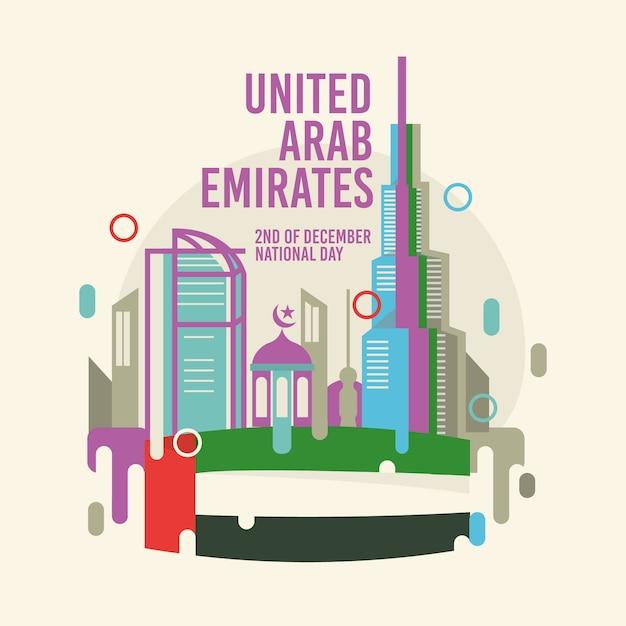 Flacher entwurf vereinigte arabische emirate nationalfeiertag Premium Vektoren