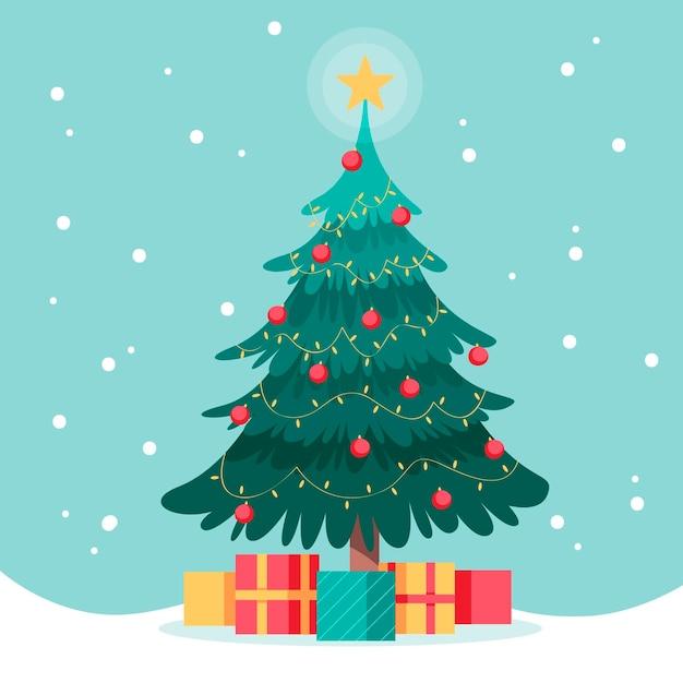 Flacher entwurfsweihnachtsbaum mit geschenken Premium Vektoren