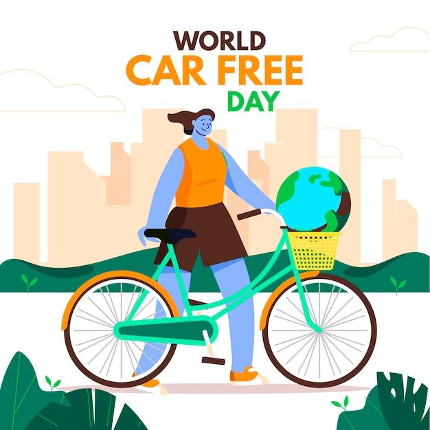 Flacher entwurfsweltautofreiheitstaghintergrund mit frau Kostenlosen Vektoren