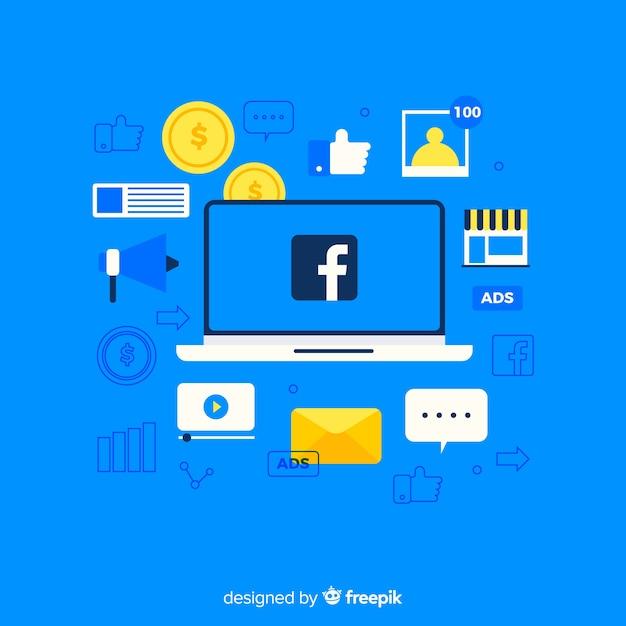 Flacher facebook-anzeigenhintergrund Kostenlosen Vektoren