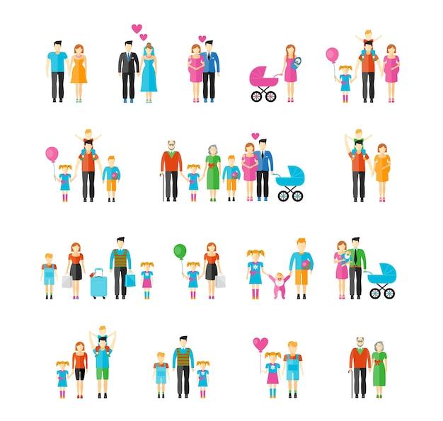 Flacher familienstil. tochter und großvater, baby und vater, sohn und mutter, ehemann und ehefrau, bruder und schwester. Kostenlosen Vektoren