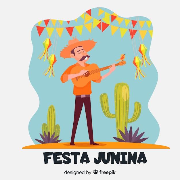 Flacher festa junina hintergrund Kostenlosen Vektoren