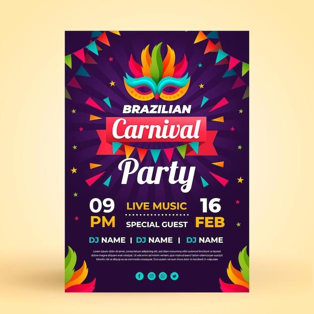 Flacher flyer vorlage brasilianischen karneval Kostenlosen Vektoren