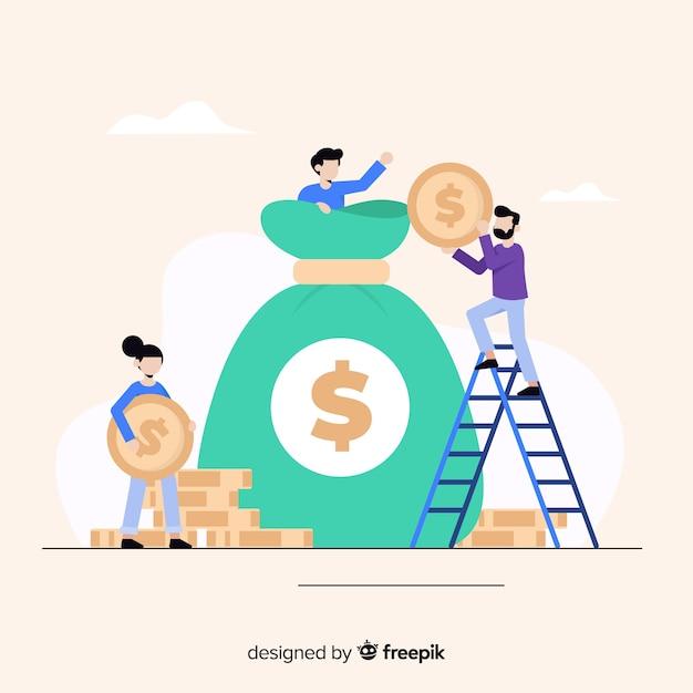 Flacher geldeinsparungskonzepthintergrund Kostenlosen Vektoren