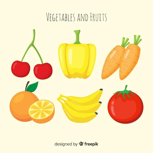 Flacher gemüse- und fruchthintergrund Kostenlosen Vektoren