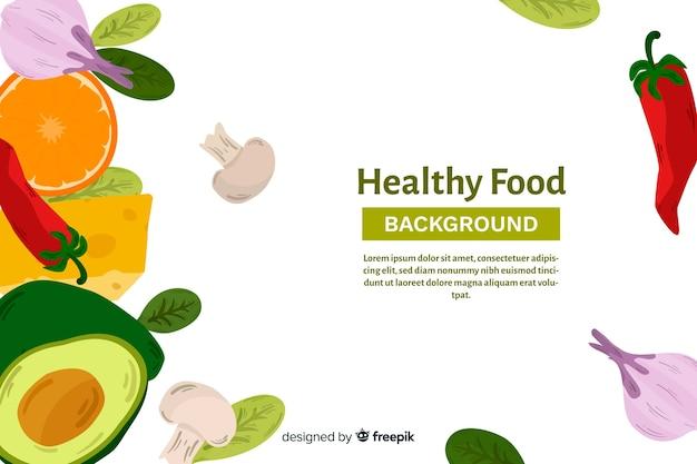 Flacher gesunder lebensmittelhintergrund Kostenlosen Vektoren