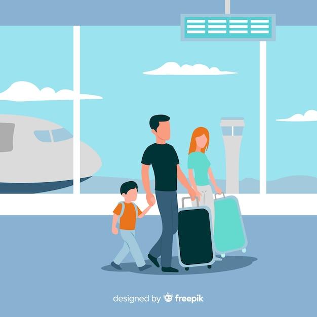 Flacher glücklicher reisender hintergrund der familie Kostenlosen Vektoren