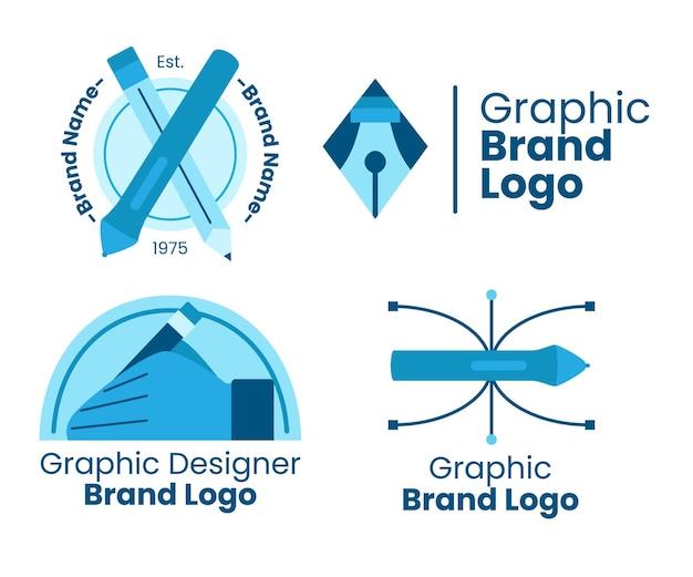 Flacher grafikdesigner-logo-schablonensatz Premium Vektoren