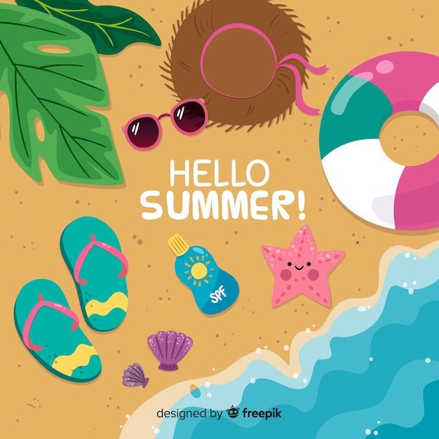 Flacher hallo sommerhintergrund Kostenlosen Vektoren