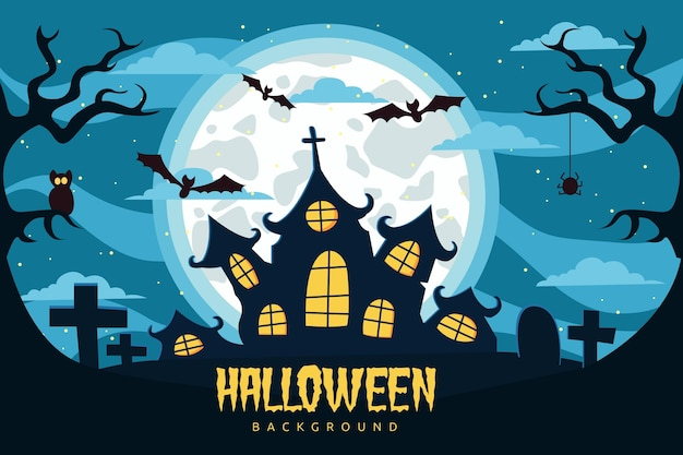 Flacher halloween-hintergrund mit spukhaus Kostenlosen Vektoren