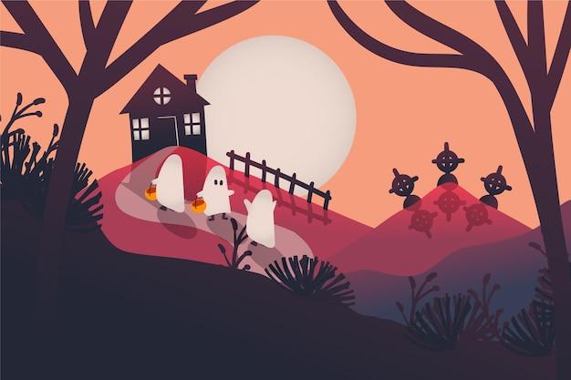 Flacher halloween-hintergrund Kostenlosen Vektoren