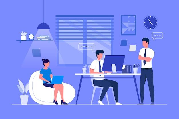 Flacher handgezeichneter coworking space Kostenlosen Vektoren