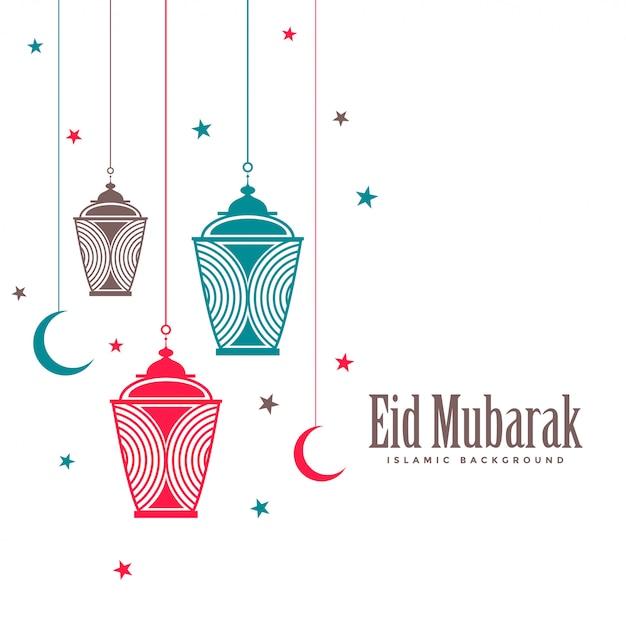 Flacher hintergrund dekorativer lampen eid mubaraks Kostenlosen Vektoren