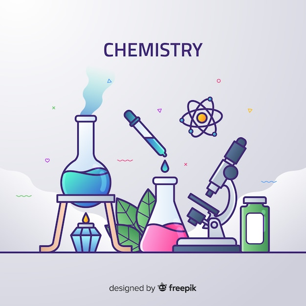 Flacher hintergrund der chemie Kostenlosen Vektoren