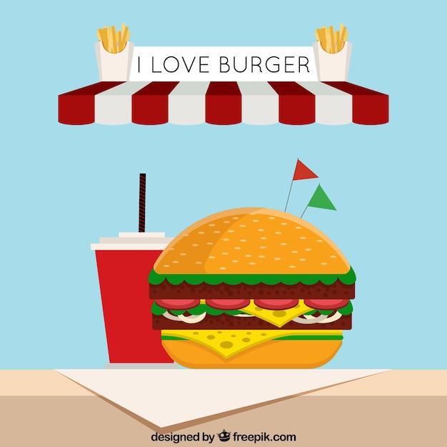 Flacher hintergrund mit leckeren burger und getränk Kostenlosen Vektoren